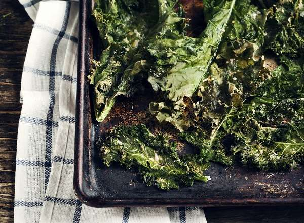 Kale chips and olive oil