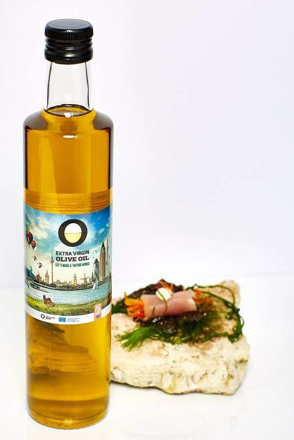 Pickled vegetables rolled inside thinly sliced Yellow fin Tuna​ with a bottle of Olive Oils from Spain