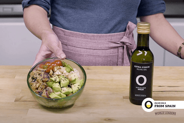 Poke salad with lemon and Olive Oils from Spain dressing