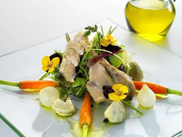 Quails in brine and baby vegetable salad recipe