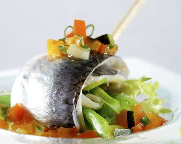 Marinated sardines with green beans and a vegetable vinaigrette