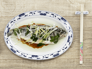 Steamed white fish with ginger, spring onion and soy sauce