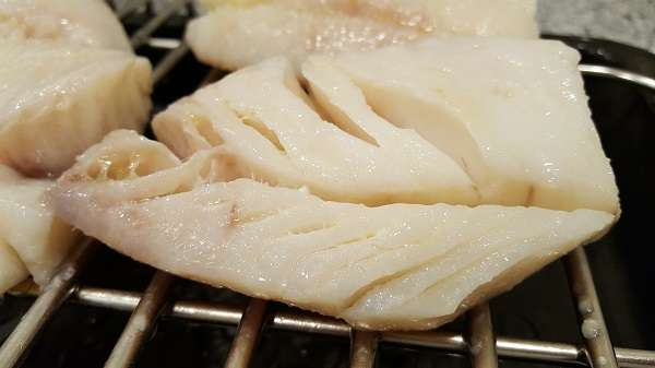 Cod in the center of the oven