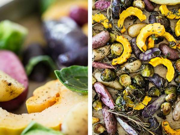 Winter Roasted Vegetables with Lemon Extra Virgin Olive Oil Dressing