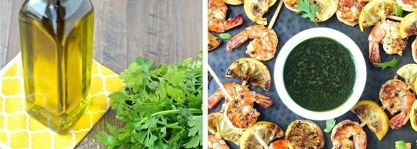 Grilled Garlic Shrimp Skewers with Parsley Oil