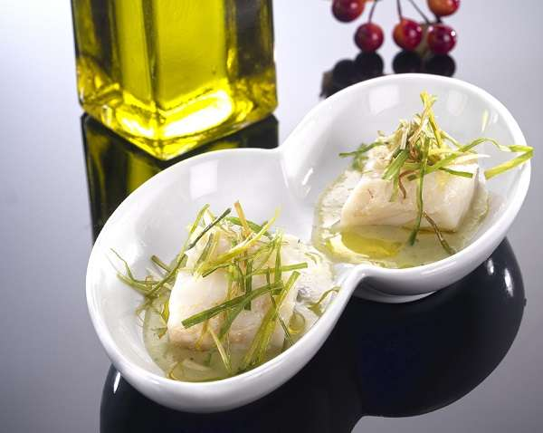 Confit of cod with porrusalda