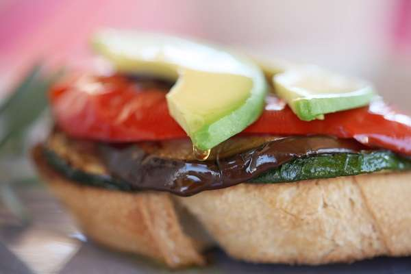 Roasted vegetable open toasted sandwich