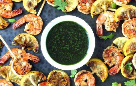 Grilled Garlic Shrimp Skewers with Parsley Oi