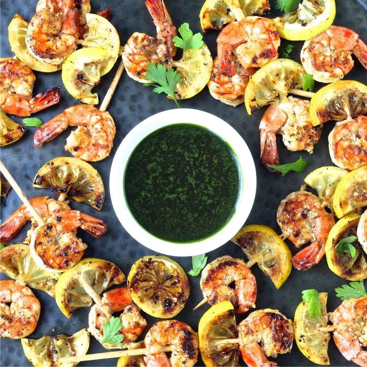 Shrimp with olive oil