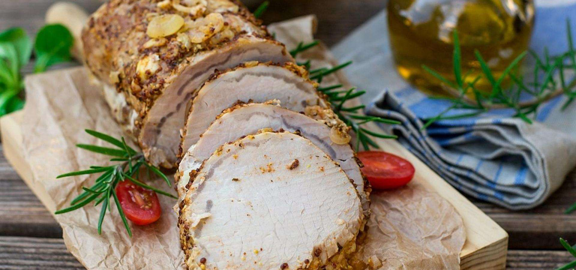 Pork loin canario with pickled red onions recipe