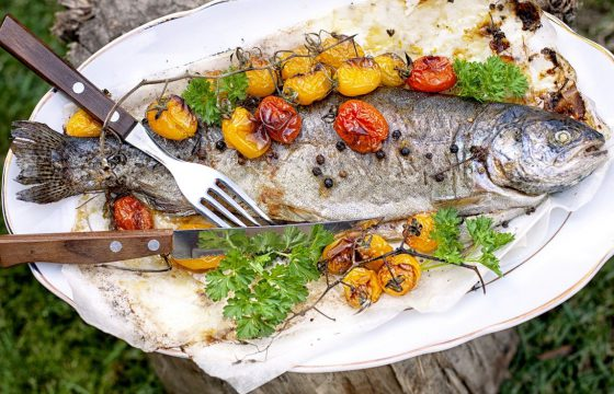 Basque poached bass and vegetables