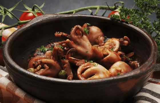 Braised Octopus with Slow Cooked Olive Oil Onions recipe