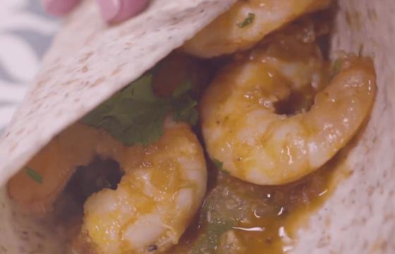 Creole shrimp tacos