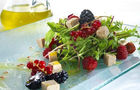 Foie gras mi-cuit and forest fruits salad