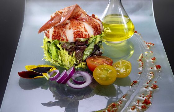 Lobster salad with a lime and saffron vinaigrette