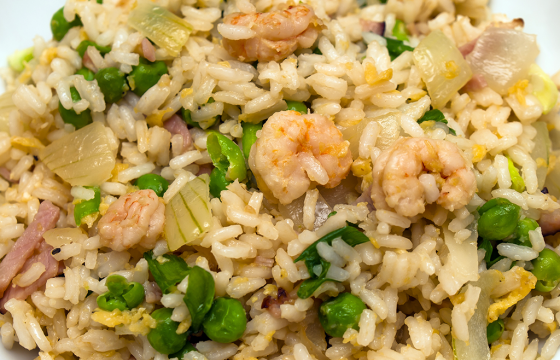 Prawn and ham rice salad