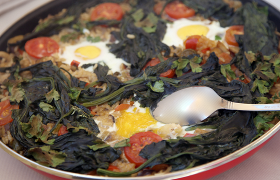 Rice with vegetables, wild mushrooms, eggs and Olive Oil from Spain