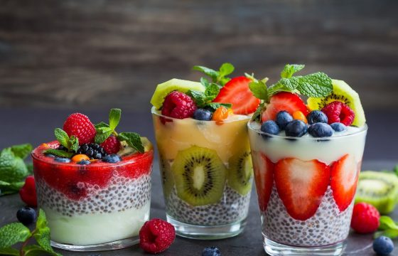 Roasted strawberry and chia bowls