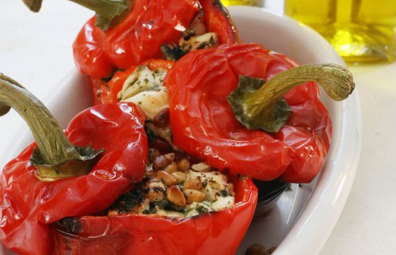 Roasted peppers with goat's cheese and pine nuts