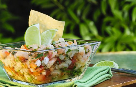 Shrimp and octopus ceviche with ginger, lemon and EVOO