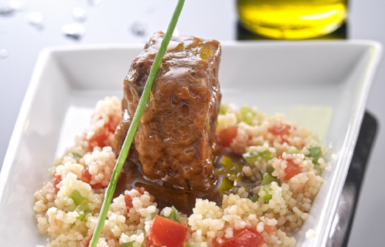 Veal cheeks with vanilla and vegetable couscous