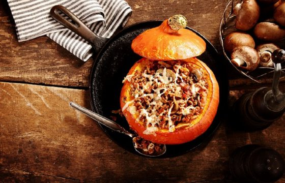 Vegetable and rice stuffed pumpkin