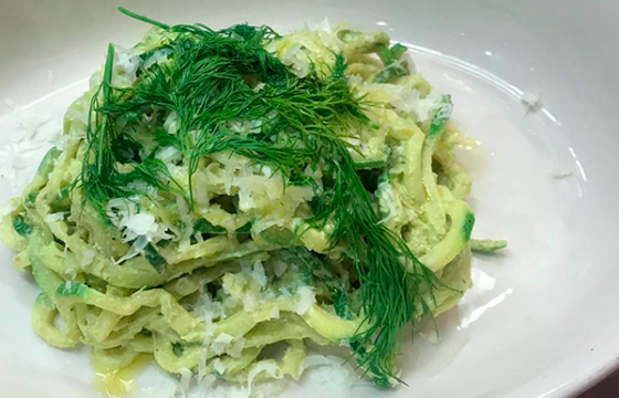 Zucchini Noodles with Pisto of garlic scapes and Marcona almonds