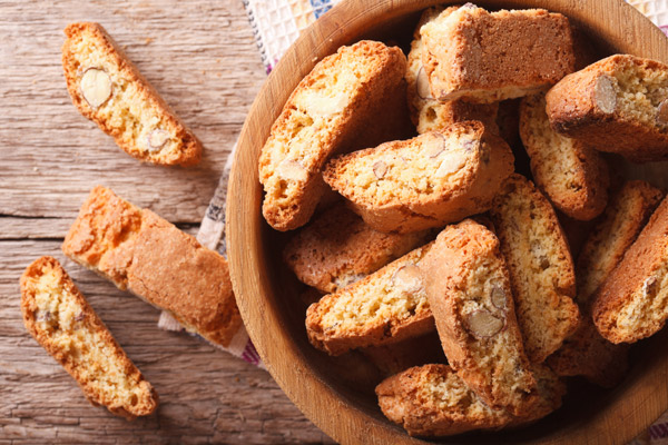 Crispy almond cookies are a perfect side for teas and coffees
