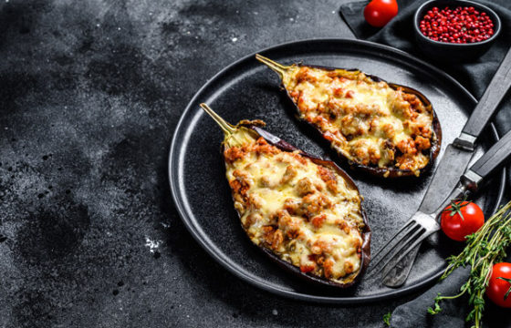 Eggplants with ground beef