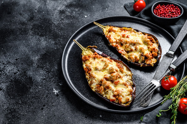 Eggplants with ground beef freshly out of the oven