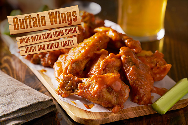 These tasy buffalo wings are healthier due to the use of Spanish EVOO