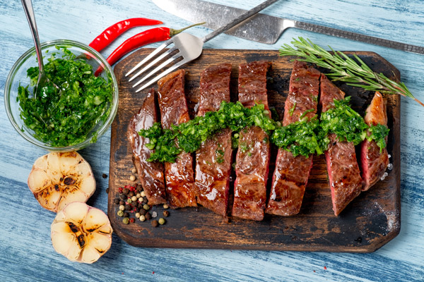 Chimichurri sauce is a great side for a chuck steak